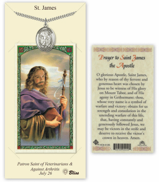Bliss Pewter Saint James the Greater Medal Pendant and Holy Card