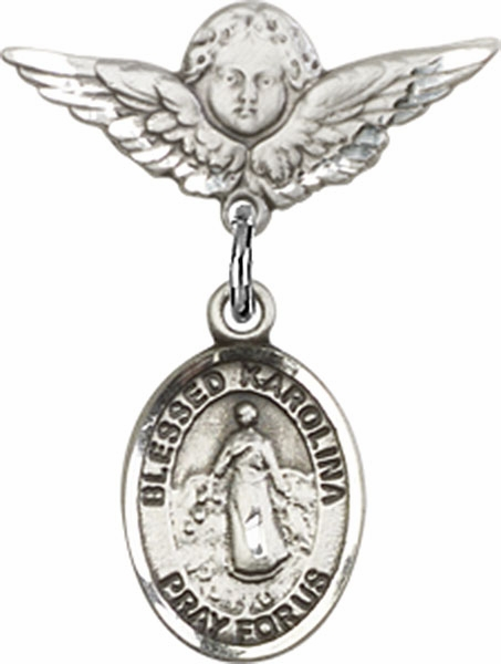 Bliss Polished Angel Wings Pin Baby Badge w/Blessed Karolina Kozkowna Charm