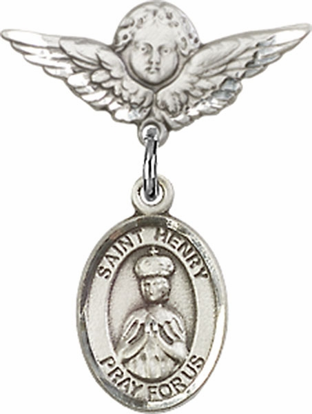 Bliss Polished Angel Wings Pin Baby Badge with St Henry II Charm