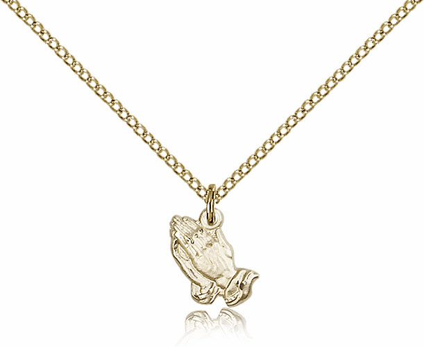 Bliss Praying Hands Medal 14kt Gold-filled Necklace with Chain