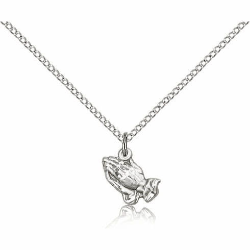 Bliss Praying Hands Medal Sterling Silver Necklace with Chain