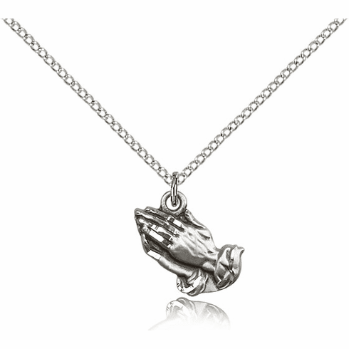 Bliss Praying Hands Sterling Silver Necklace with Chain
