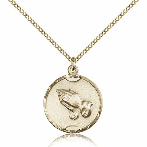 Bliss Praying Round Serenity Prayer Hands Medal 14kt Gold-filled Necklace with Chain