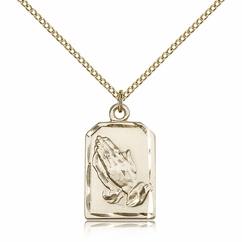 Bliss Praying Serenity Prayer Hands Medal 14kt Gold-filled Necklace with Chain
