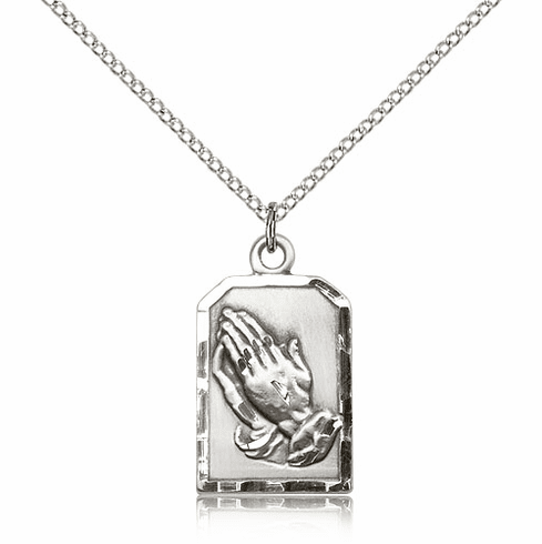 Bliss Praying Serenity Prayer Hands Medal Pewter Necklace with Chain