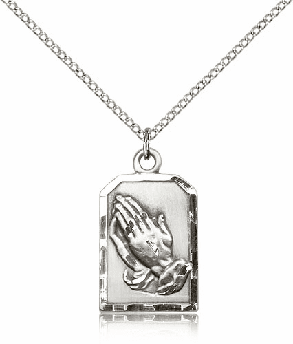 Bliss Praying Serenity Prayer Hands Medal Sterling Silver Necklace with Chain