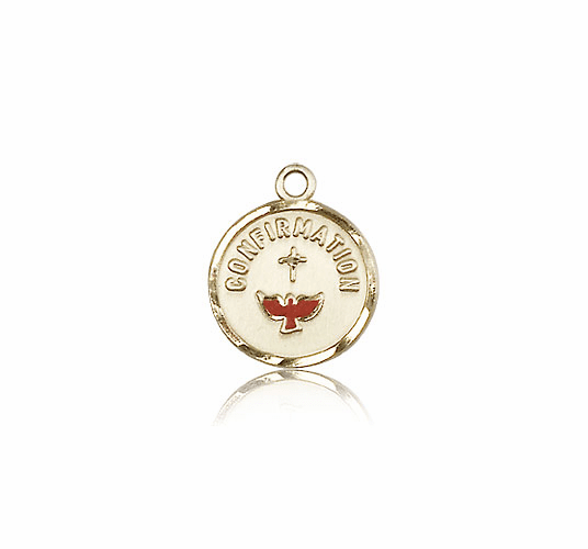 Bliss Red Dove 14kt Gold Confirmation Medal Pendant