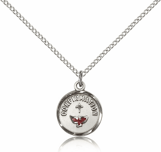 Bliss Red Dove Sterling Silver Confirmation Pendant Necklace
