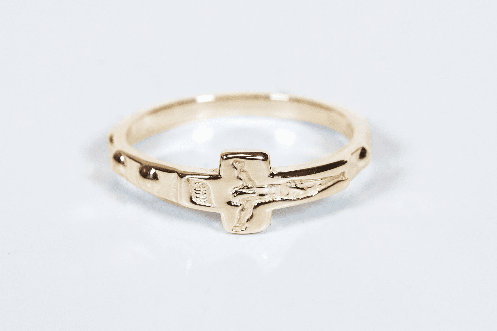 Bliss Religious 14kt Yellow Gold Crucifix Catholic Rosary Ring