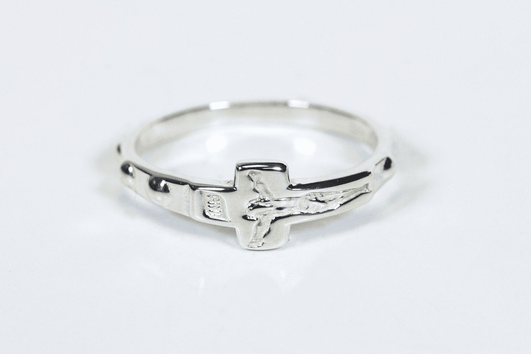 Bliss Religious Sterling Silver Crucifix Catholic Rosary Ring