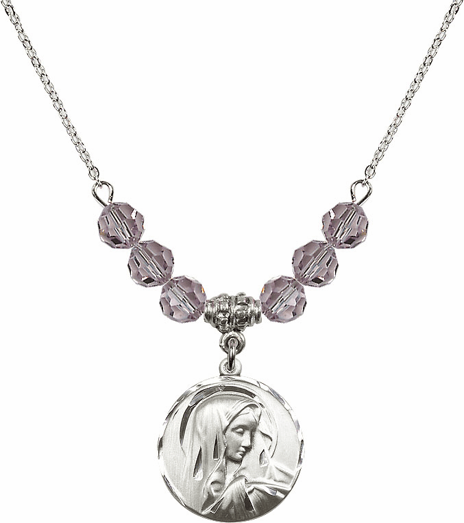 Bliss Round Our Lady of Sorrows June Lt Amethyst 6mm Swarovski Crystal Necklace