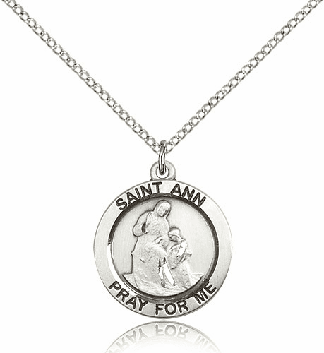 Bliss Round St Ann Sterling Silver Pendant Necklace with Chain