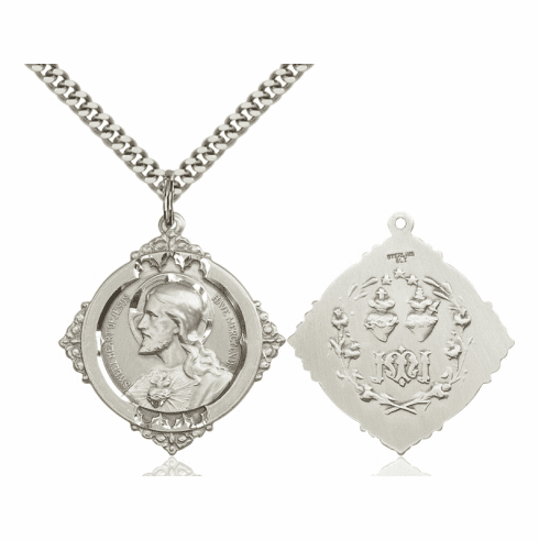Bliss Sacred Heart w/Twin Hearts Sterling Medal Necklace