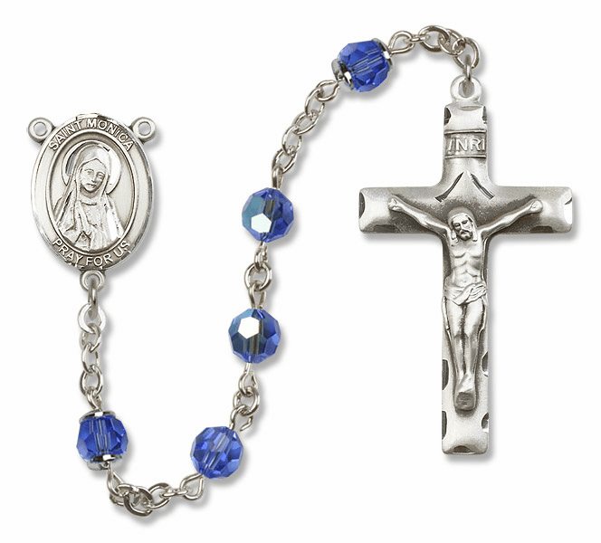Bliss Sapphire Swarovski Crystal Patron Saint Sterling Rosary