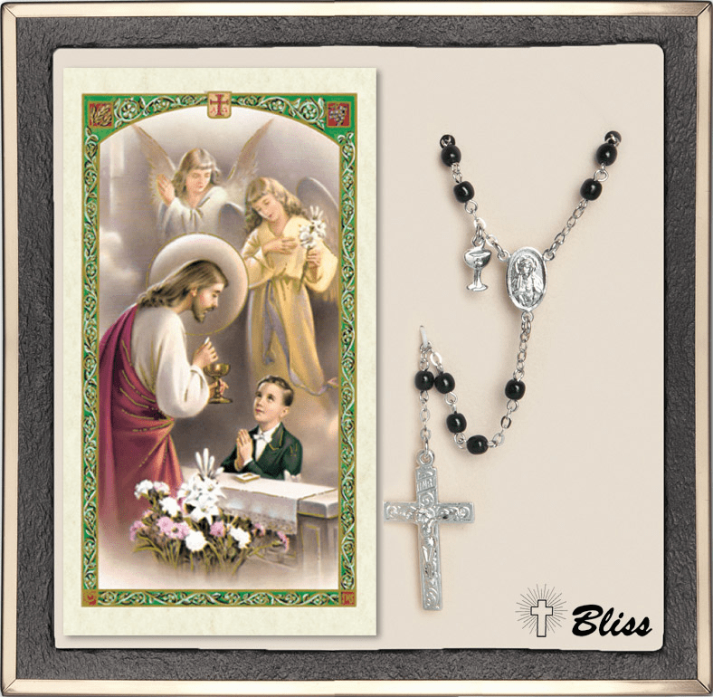 Bliss Scapular Communion Silver Black Rosary & Prayer Card