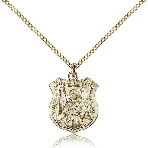Bliss Shield St Michael the Archangel Protect Us 14kt Gold-filled Saint Medal