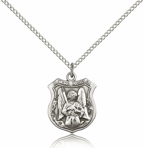 Bliss Shield St Michael the Archangel Protect Us Sterling Silver Saint Medal
