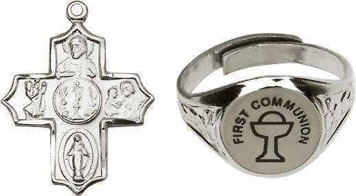 Bliss Silver Communion Chalice Ring and 5-Way Cross Jewelry Set