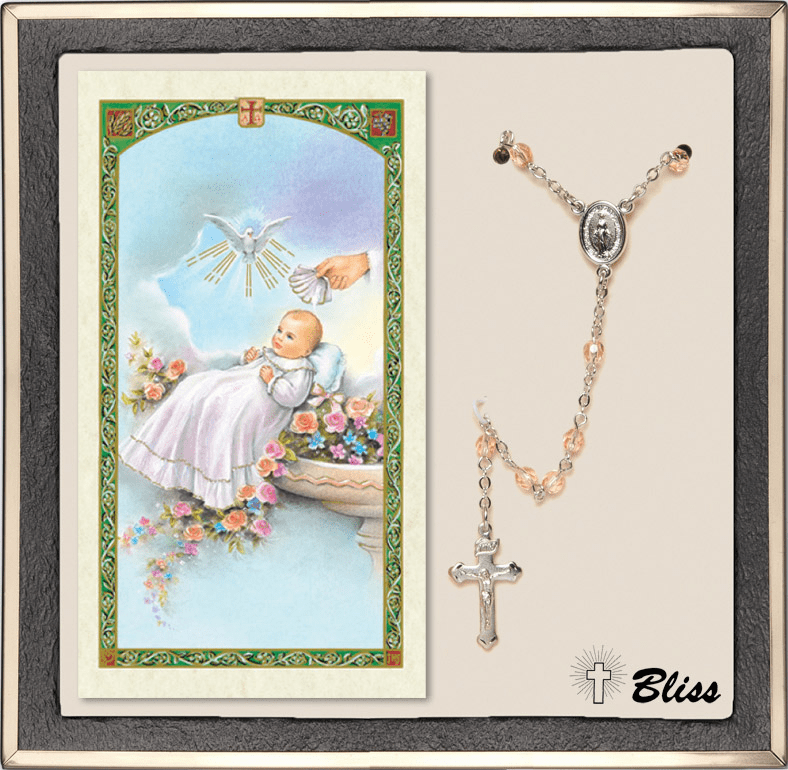 Bliss Silver Crystal Rosary & Baptism Blessing Prayer Card
