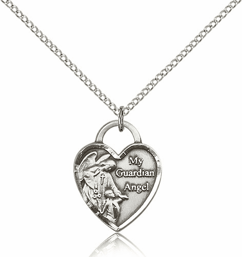 Bliss Silver-filled Guardian Angel Pendant Necklace
