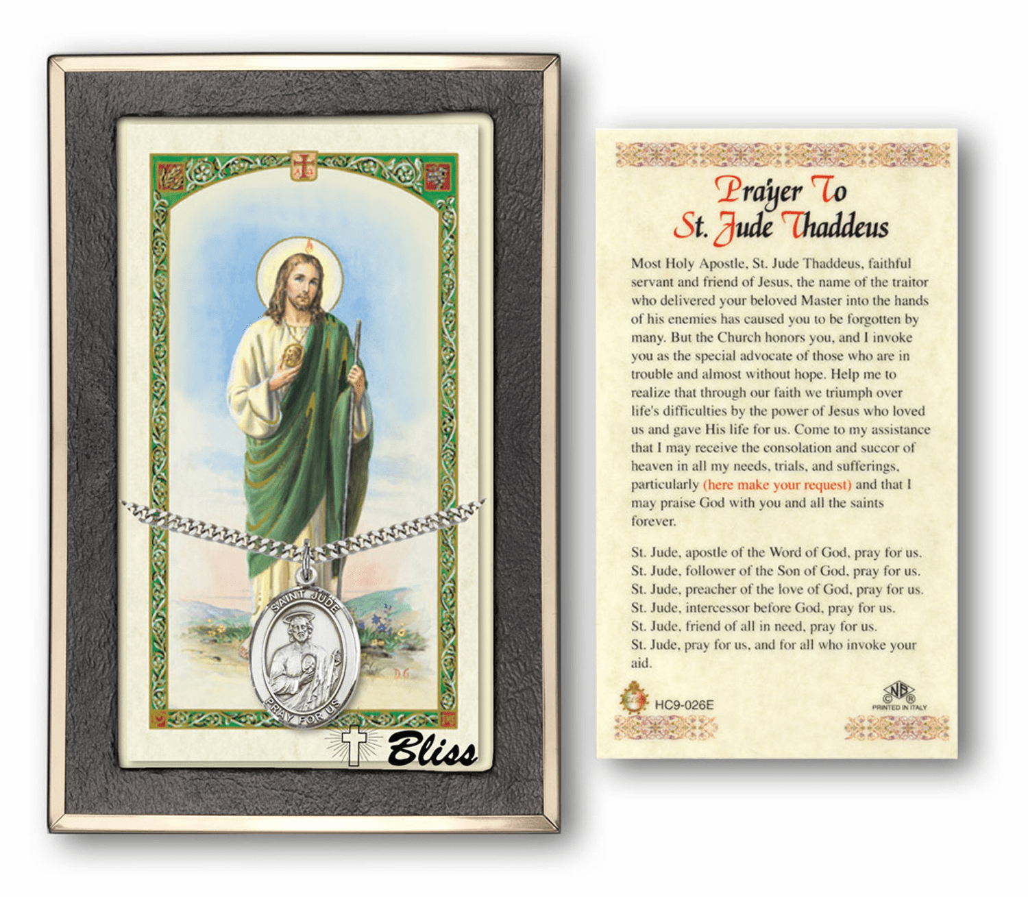 "Bliss Silver-filled Large Patron Saint and Protector Holy Cards ""More Saints"""