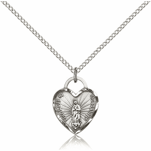 Bliss Silver-filled Our Lady of Guadalupe Heart Pendant Necklace