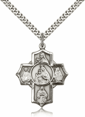Bliss Our Lady of Mount Carmel Silver-filled 5-Way Cross Pendant Necklace