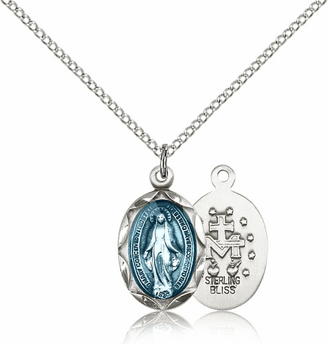 Bliss Silver-filled Scallop Edge Blue Miraculous Medal Necklace