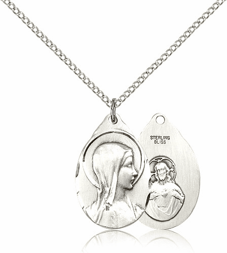 Bliss Silver-filled Sorrowful Mother Pendant w/Sared Heart on Back