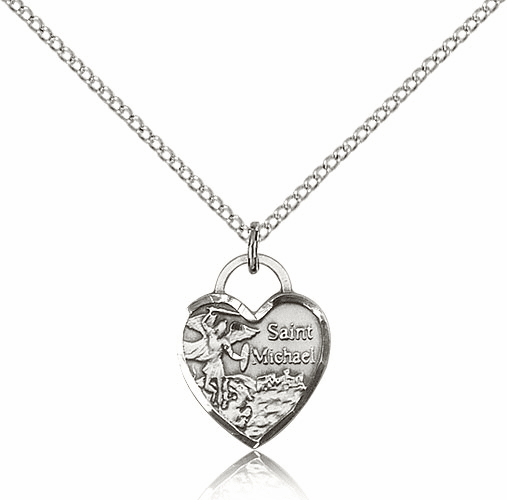 Bliss Silver-filled St Michael Heart Pendant Necklace