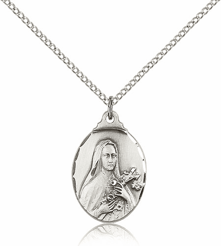 Bliss Silver-filled St Therese Lisieux Pendant Necklace