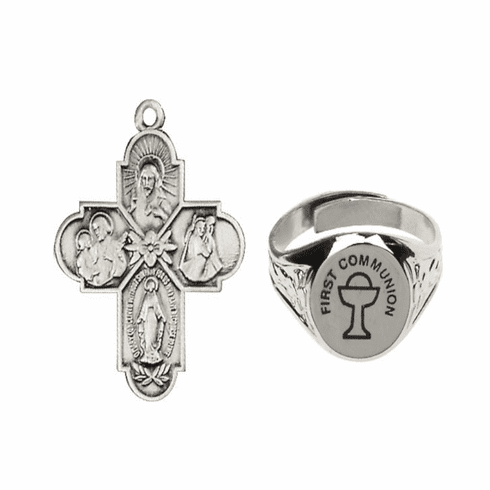 Bliss Silver Holy Communion 4-Way Cross and Chalice Ring Jewelry Set