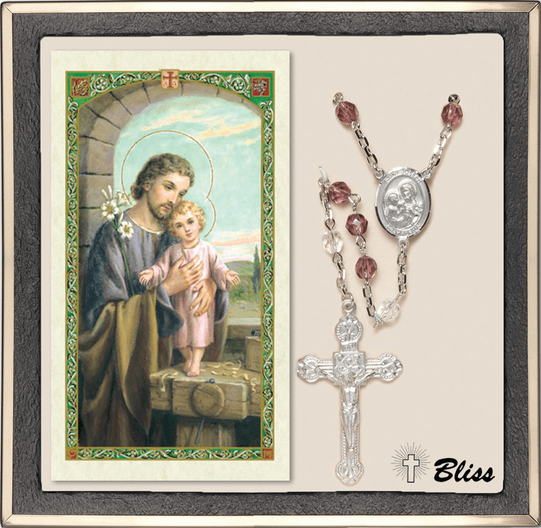 Bliss Silver Plate Amethyst Rosary and St Joseph Prayer Card