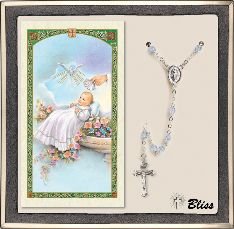 Bliss Silver Sapphire Rosary and Baptism Blessing Prayer Card