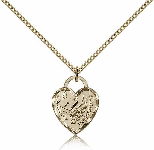 Bliss Small 14kt Gold-filled Graduation Heart Pendant Necklace w/Chain