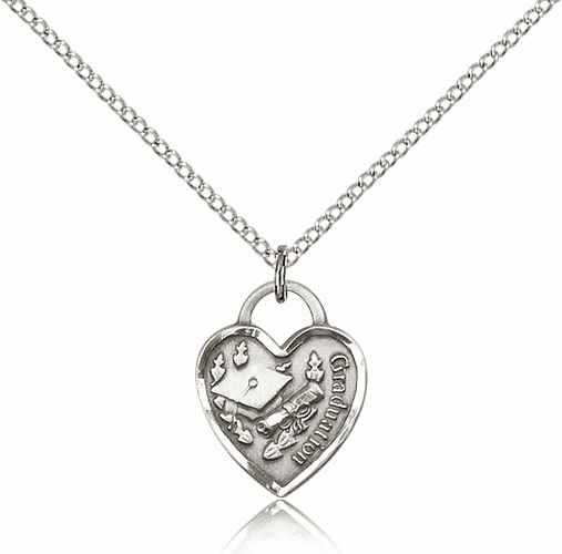 Bliss Small Sterling Silver Graduation Heart Pendant Necklace w/SS Chain