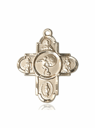 Bliss Soccer 5-Way Cross Sport 14kt Gold Medal