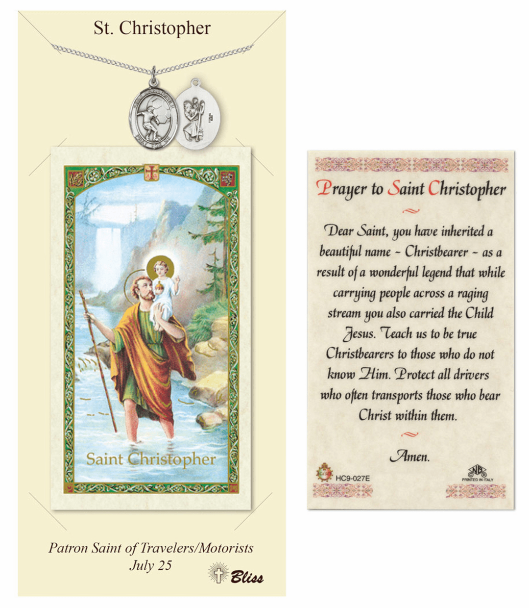 Bliss Soccer St Christopher Prayer Card and Pewter Necklace Gift Set