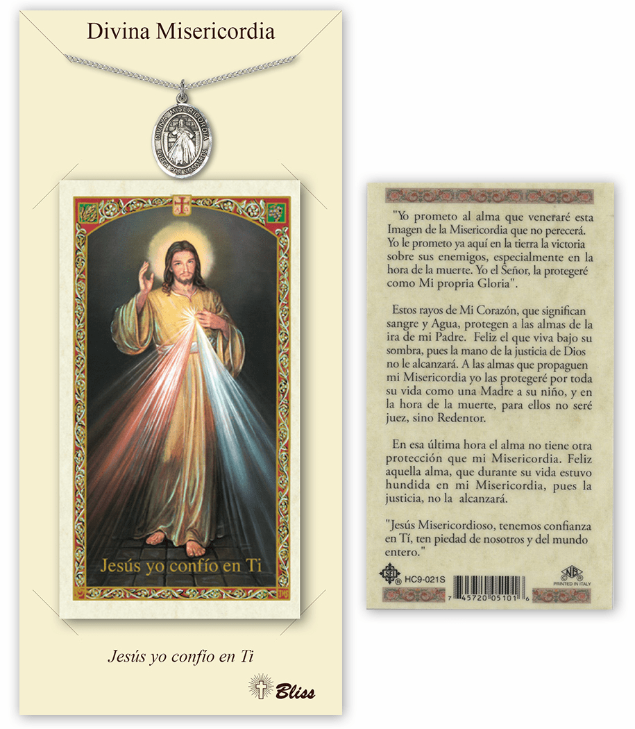 Bliss Spanish Divine Mercy Necklace and Prayer Card Set