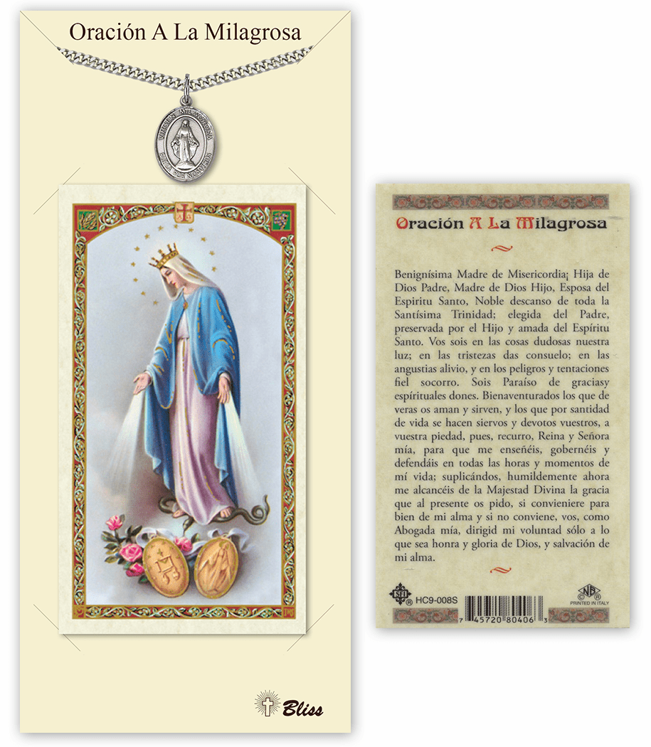 Bliss Spanish Miraculous Medal Necklace and Prayer Card Set