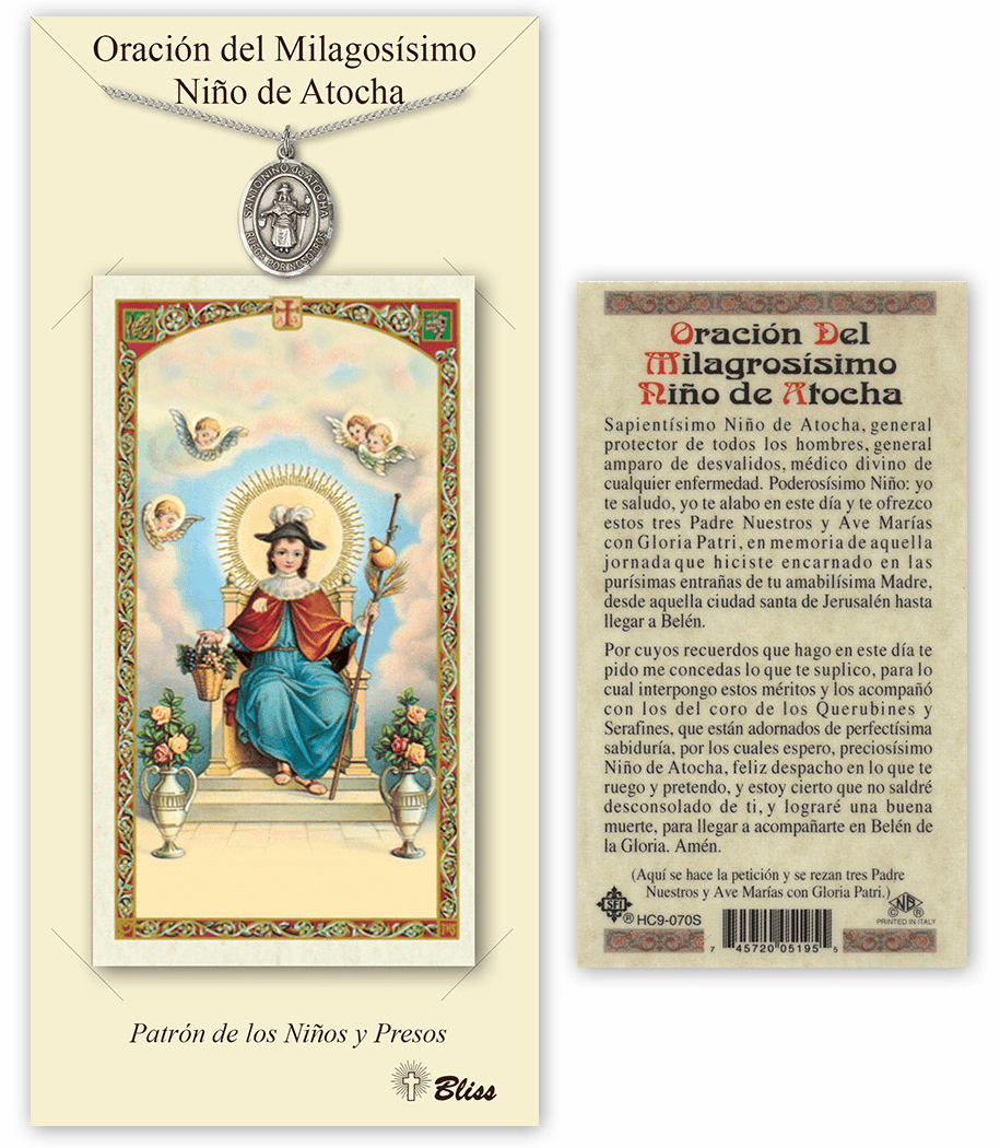 Bliss Spanish Nino de Atocha Medal Necklace and Prayer Card Set