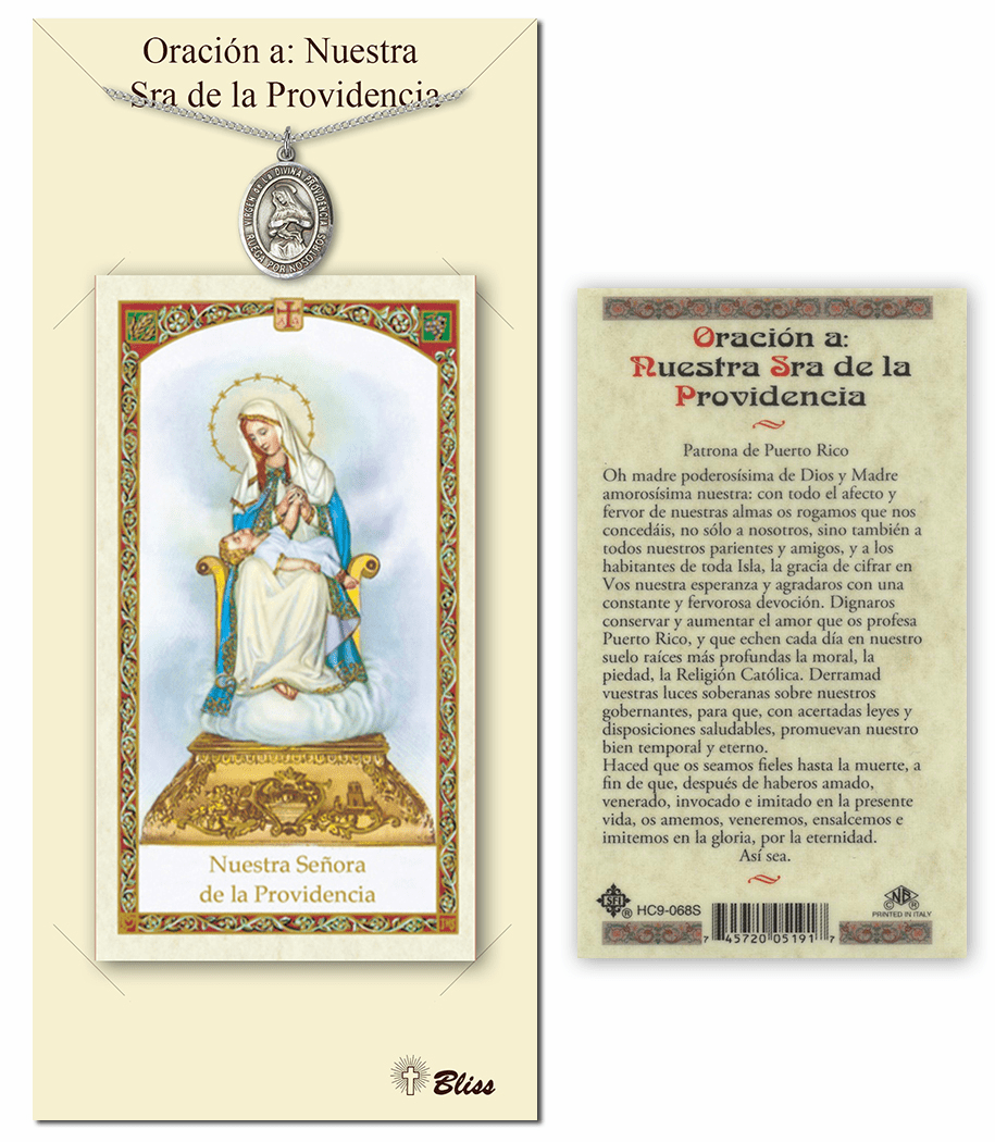 Bliss Spanish Our Lady of Divine Providence Medal Necklace and Prayer Card Set