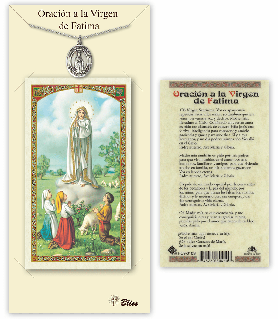 Bliss Spanish Our Lady of Fatima Medal Necklace and Prayer Card Set