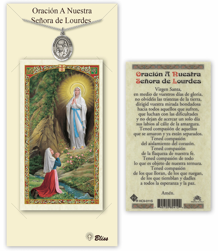 Bliss Spanish Our Lady of Lourdes Necklace and Prayer Card Set