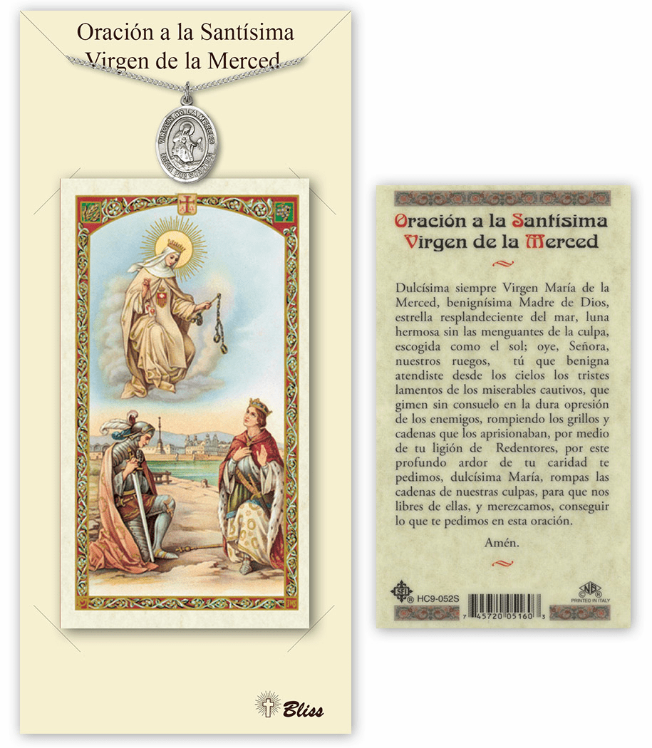 Bliss Spanish Our Lady of Mercy Necklace and Prayer Card Set
