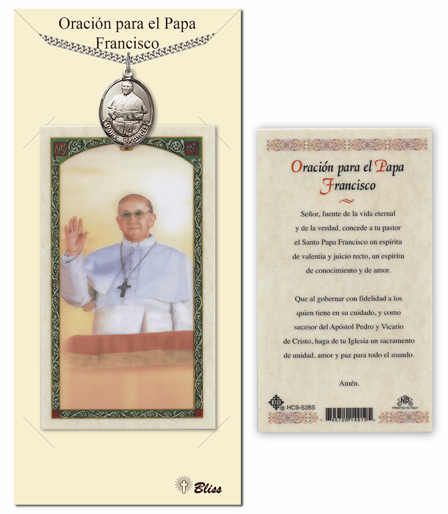 Bliss Spanish Pope Francis Medal Necklace and Prayer Card Set