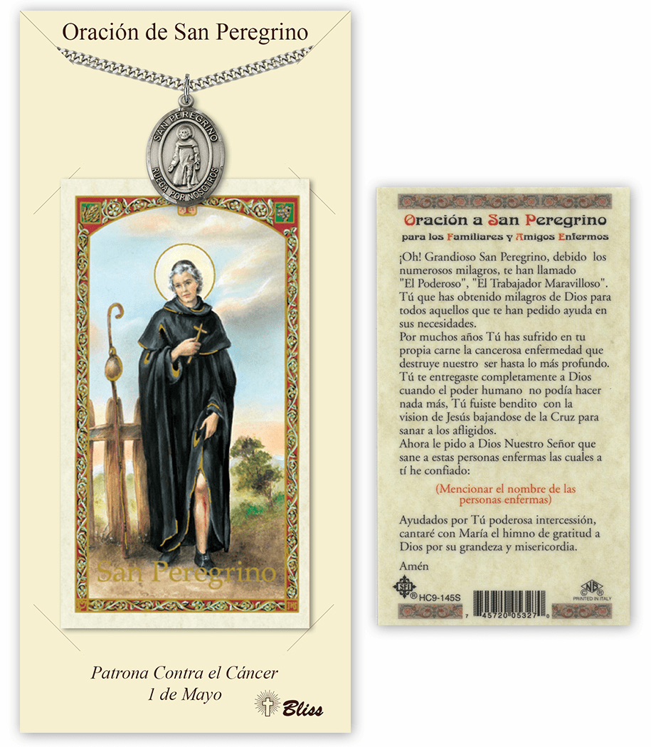Bliss Spanish Saint Peregrine Medal Necklace and Prayer Card Set