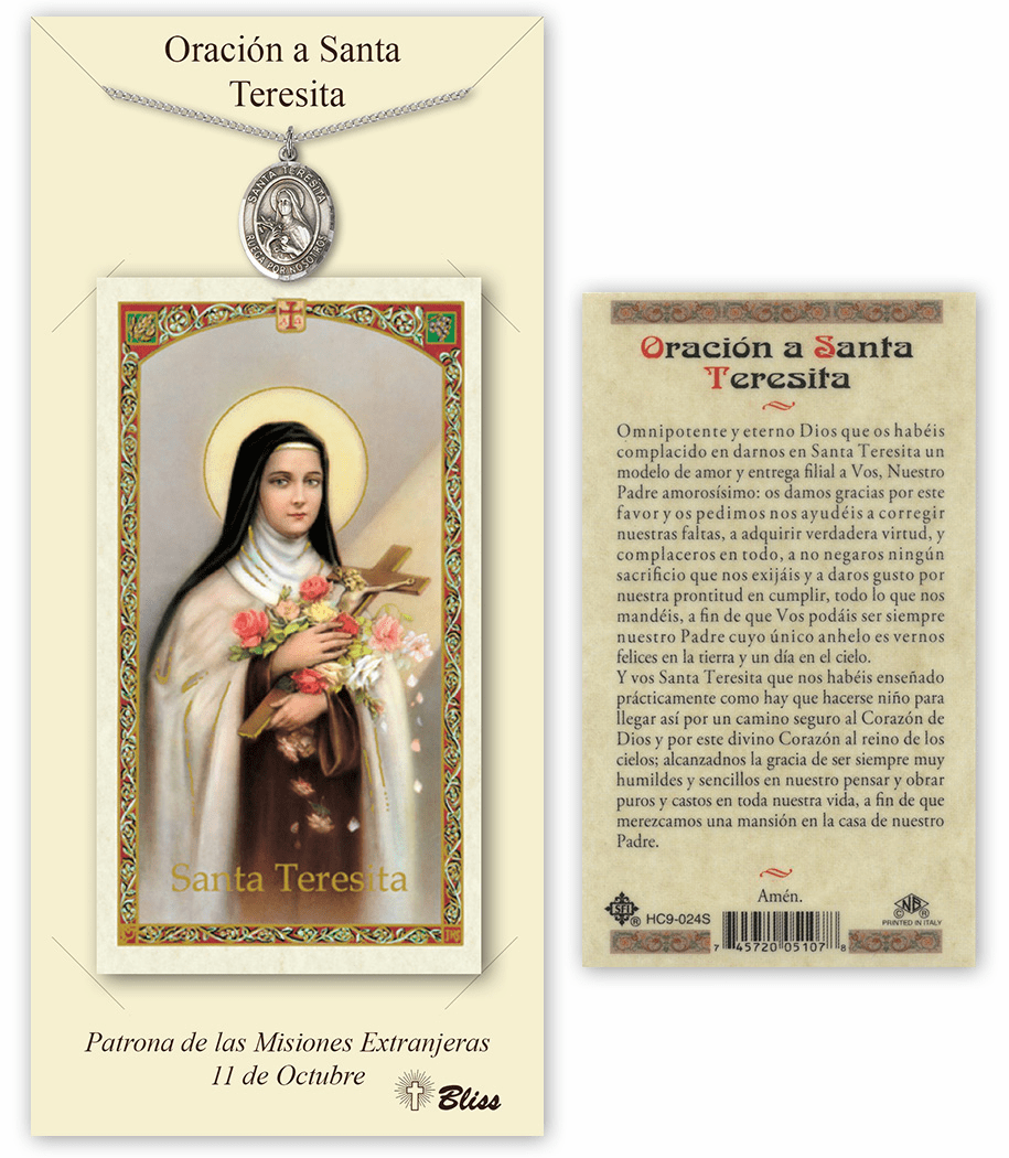Bliss Spanish Saint Theresa Medal Necklace and Prayer Card Set