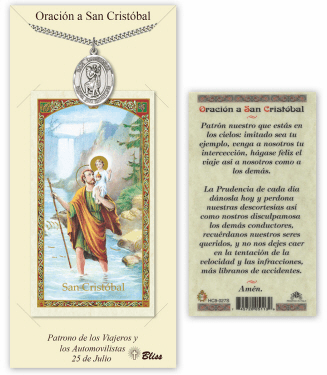 Bliss Spanish St Christopher Medal Necklace and Prayer Card Set