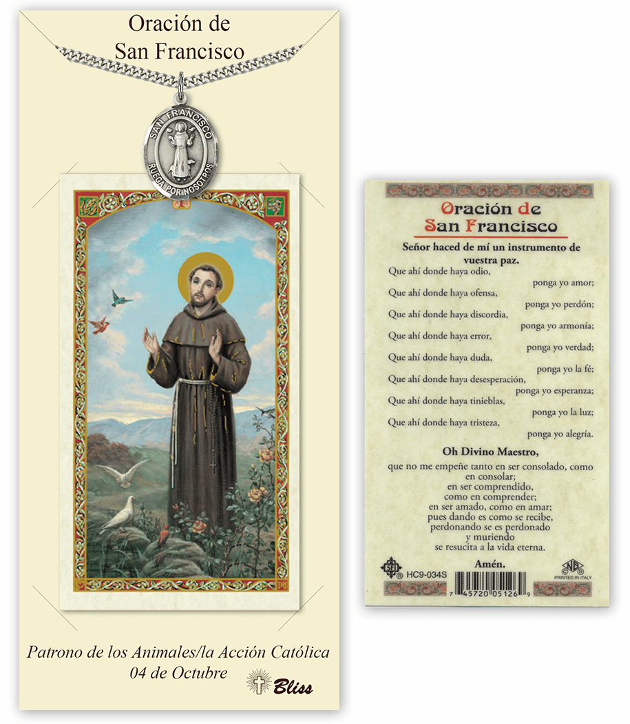 Bliss Spanish St Francis Medal Necklace and Prayer Card Set